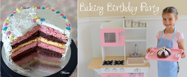 4 layer cake, baking birthday party