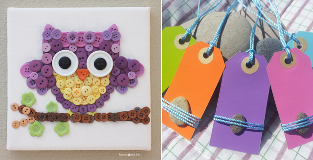 Button art owl,summer stone tags
