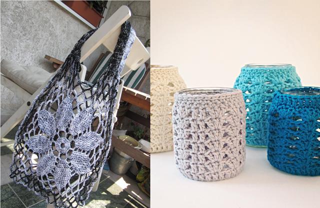 Crocheted market bag,votive jars