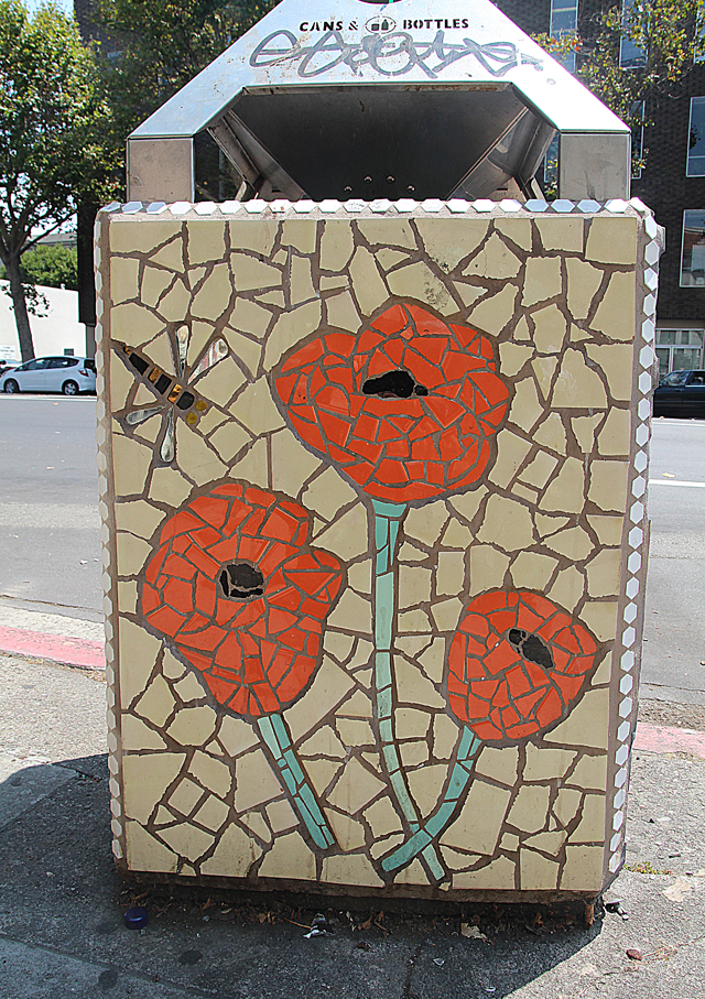 Mosaic Garbage Can-Poppies- Grant Ave. Oakland.jpg