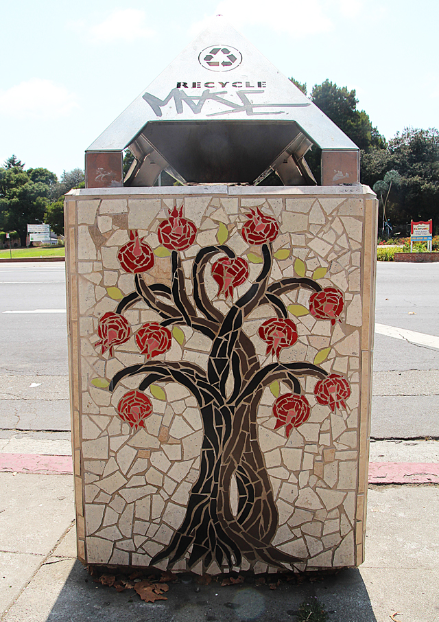 Mosaic Garbage Can-Pomegranite tree- Grant Ave. Oakland