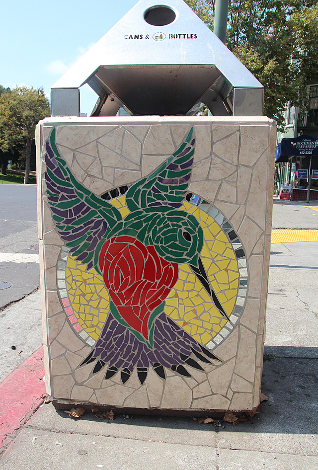 Mosaic Garbage Can-Humming Bird- Grant Ave. Oakland.jpg