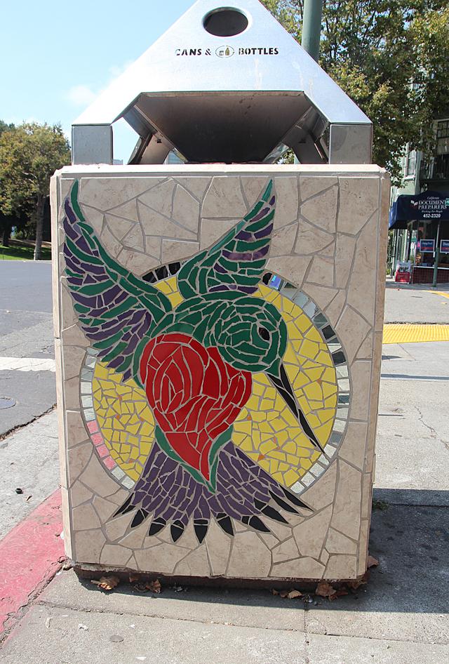 Mosaic Garbage Can-Humming Bird- Grant Ave. Oakland.jpg