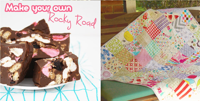 Simple patchwork quilt, DIY rocky road candy
