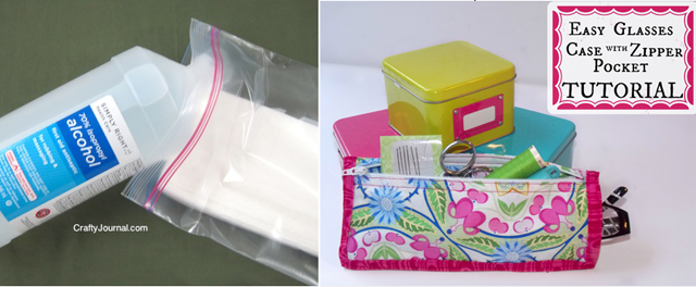 DIY alcohol wipes,tutorial for glasses case with zipper pocket