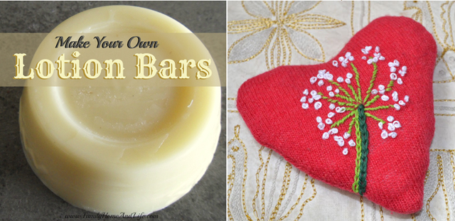 DIY lotion bars,embroidered pin cushions