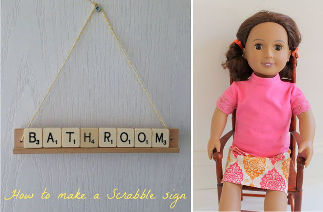 Scrabble tile sign,american doll clothes pattern