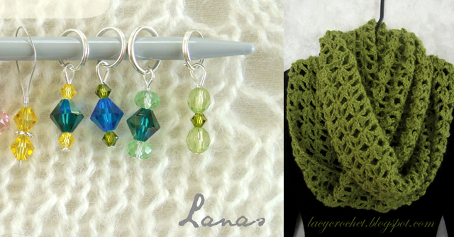 Beaded knitting markers,crocheted infinity scarf