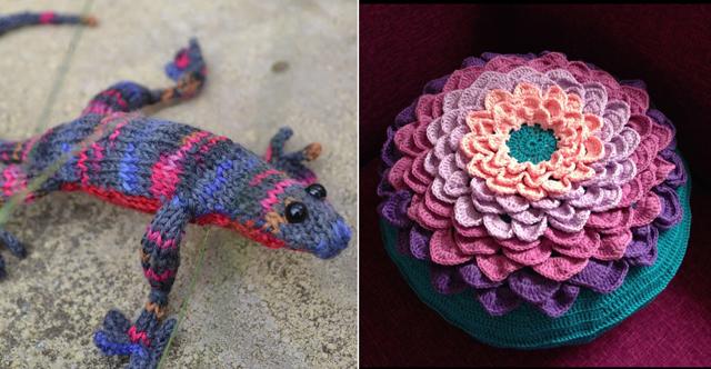 Knit lizard,crocheted flower petal pillow