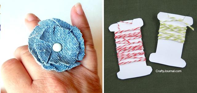 Jean cocktail ring,milk just plastic spools