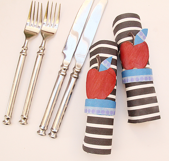 Tp tube apple napkin rings for Rosh HaShana