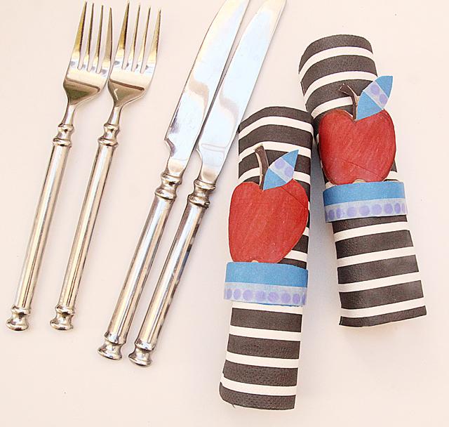 Tp tube apple napkin rings for Rosh HaShana