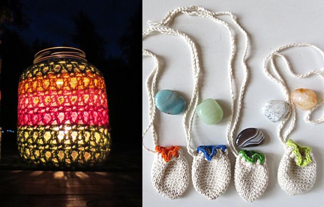 Crocheted Lantern cover, crocheted mini pouches