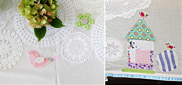 Doily applique tablecloth