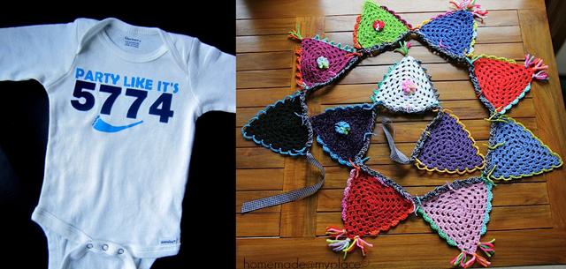Rosh HaShana baby gift,crocheted triangular bunting