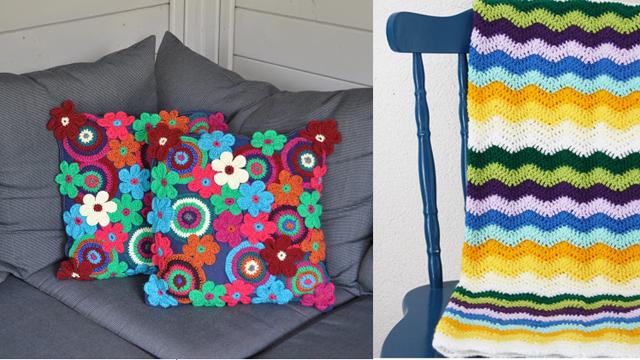 Crocheted Appique flower pillows