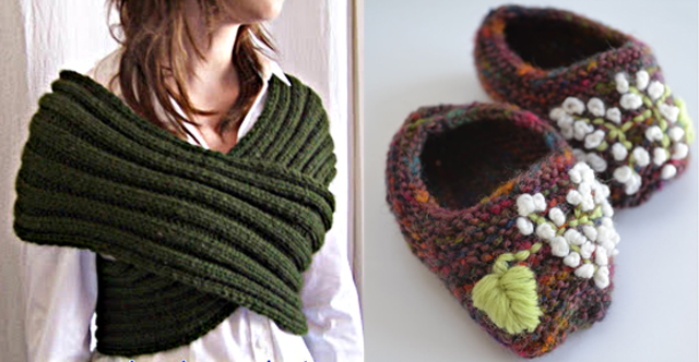 Knit figure-8 shawl,knit embroidered booties