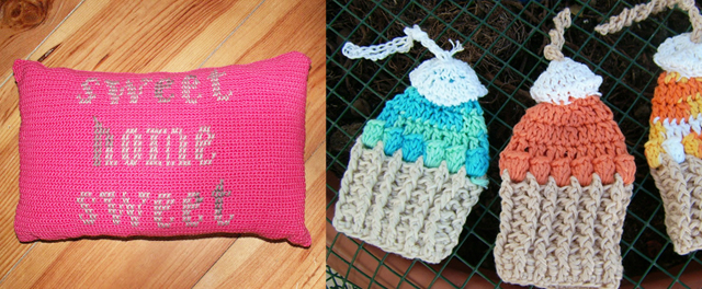 Crocheted and cross stitch pillow, crocheted cupcakes