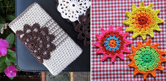 Crocheted i-phone cover,crocheted sunflowers