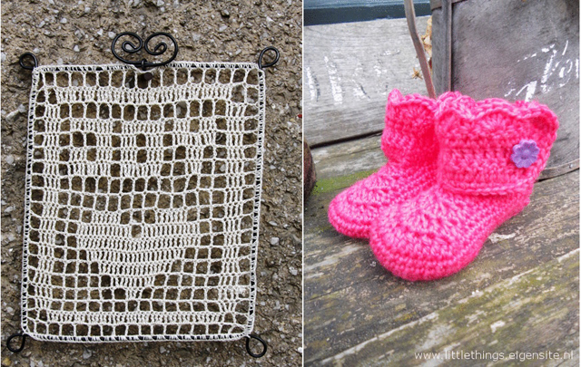 Filet crochet joy, baby booties