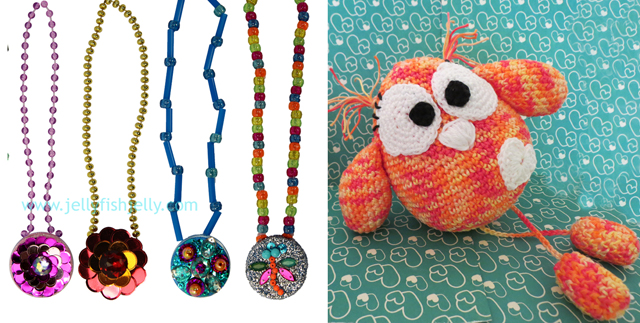Sequin pendants on milk top,crocheted owl