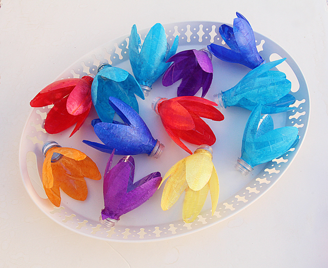 Recycled Bottle Flowers With Tissue Paper