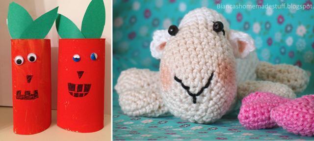 Tp tube pumpkins,crocheted sheep