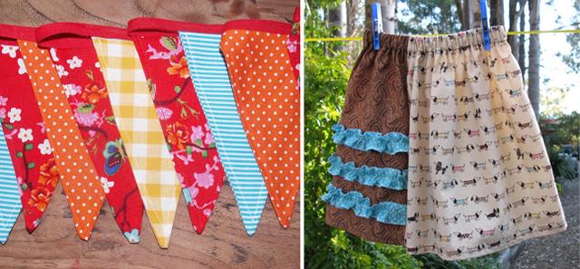 Sewn bunting, fun little girls skirt