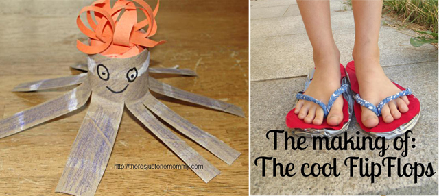 Tp tube octopus,flip flop craft from cardboard