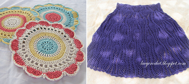 Crocheted doilies,crocheted pineapple crocheted skirt
