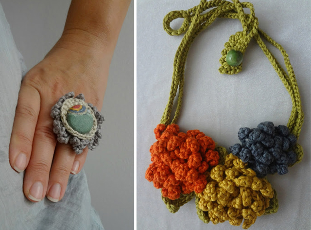 Crocheted fall necklace,crocheted ring