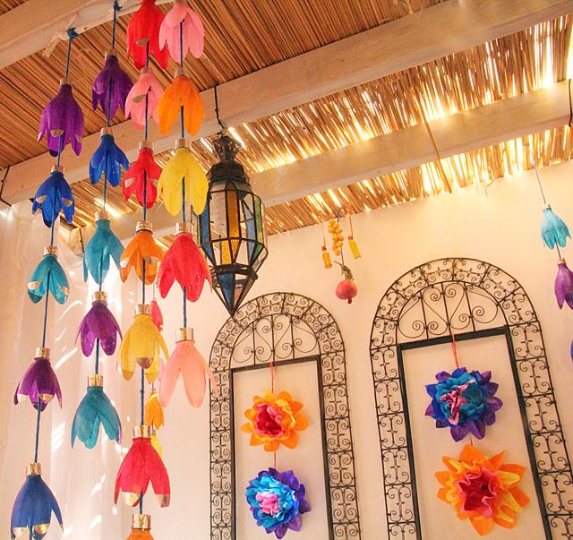 Sukkah Decor With Plastic Bottle Flowers