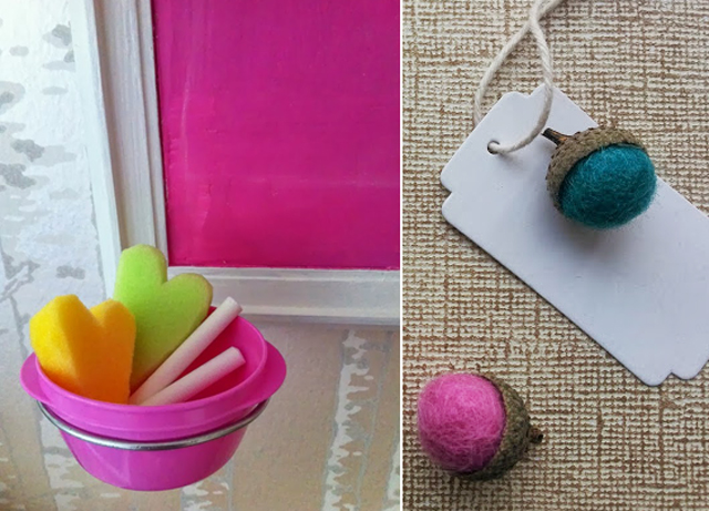 Hot pink chalkboard,felt acorns
