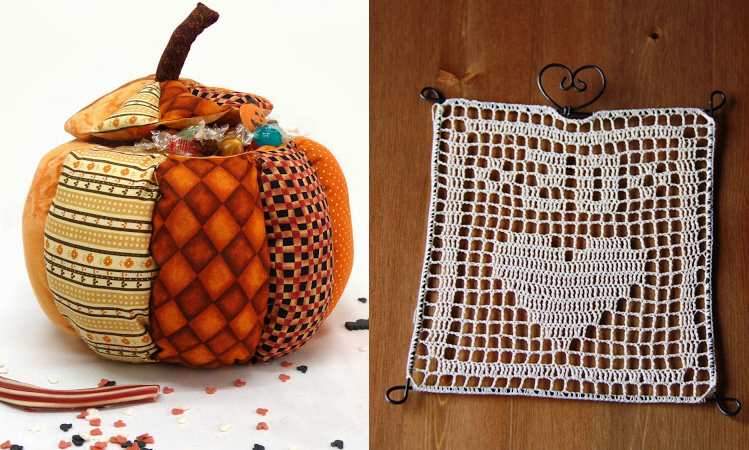Sewn pumpkin box,filet crochet