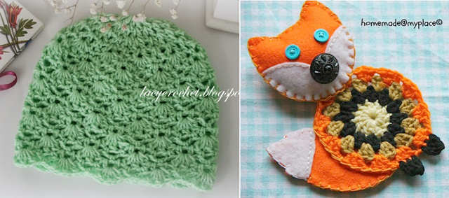 Mandala felt fox,crocheted baby hat