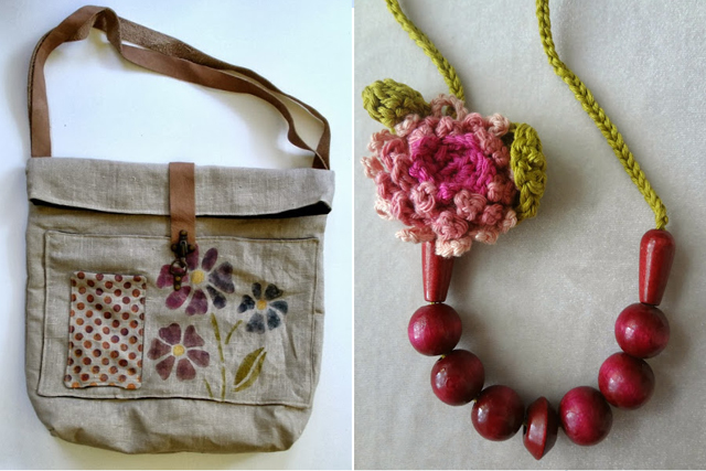 Messenger bag with stencils,crocheted flower with wooden beades necklace