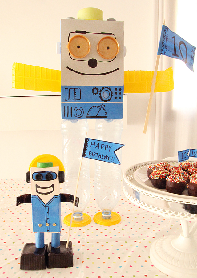 Recycled Packaging Robot Birthday Craft