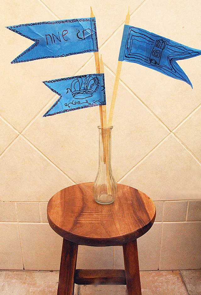 Blue Masking Tape Flag Centerpiece