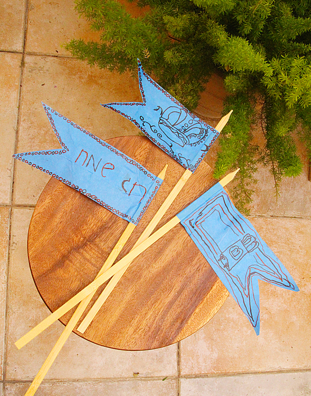 Blue Masking Tape Flags For Simchat Torah