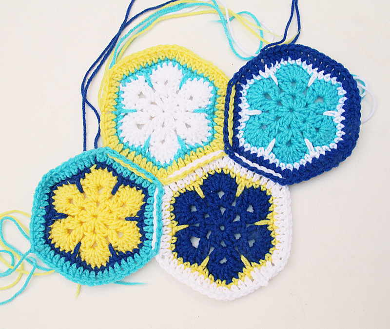 Crochet African Flower Hex connect as you crochet