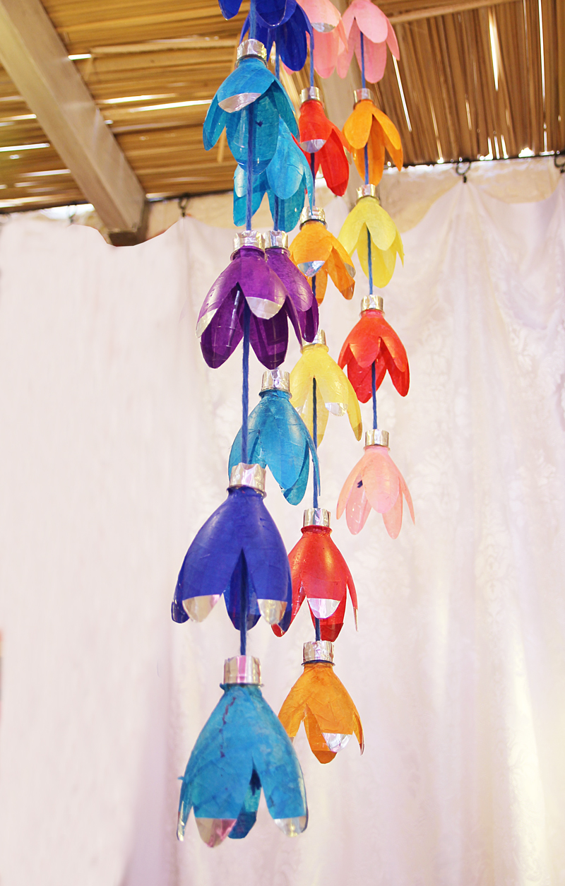 Recycled Bottle Flower Rainbow Mobile
