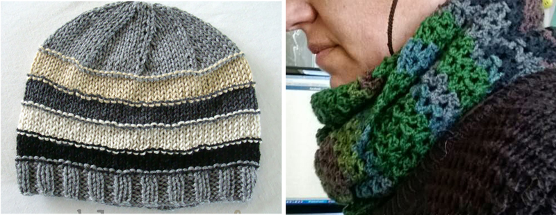Knit stash hat,crocheted striped cowl