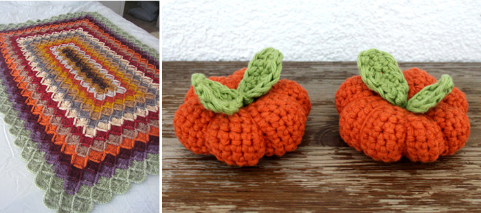 Crocheted mini pumpkin pattern,crocheted fall colors afghan,