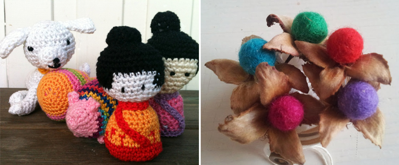 Crocheted geisha amigurumi,felt ball flower