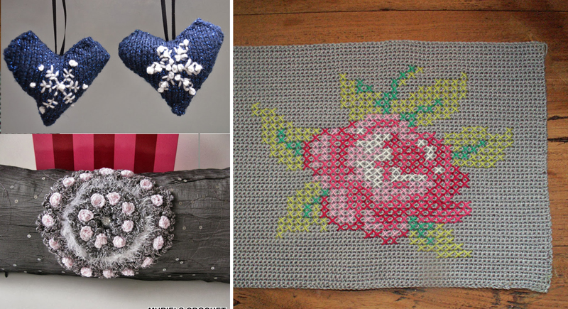Crocheted with cross stitch rose,hearts with snowflakes