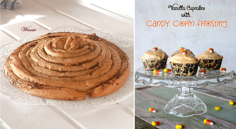 Candy corn cupcakes,spice bread