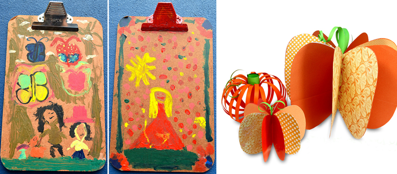 Painted clip board kid's craft,paper pumpkin projects