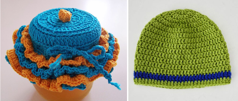 Crocheted baby hat pattern,crocheted cupcake jar cover