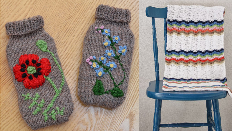 Knit cell phone cosies,crocheted ripple blanket