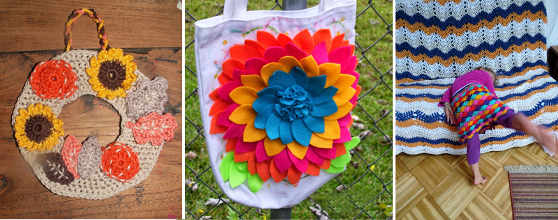 Crocheted wreath,felt flower bag,ripple blanket